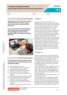 """Is it cool to not be at school?"" - Home schooling and distance learning experiences during lockdown - Arbeitsblatt mit Lösungen"