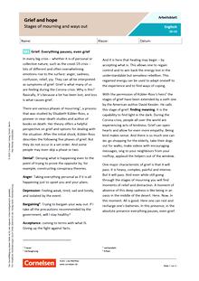 Grief and hope - Arbeitsblatt mit Lösungen