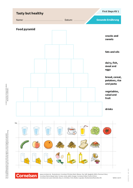 First Steps: Gesunde Ernährung - Arbeitsblatt