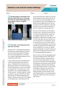 Gedenken an das Ende des Zweiten Weltkriegs - Arbeitsblatt mit Lösungen
