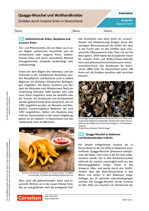 Quagga-Muschel und Wollhandkrabbe - Schäden durch invasive Arten in Deutschland - Arbeitsblatt mit Lösungen