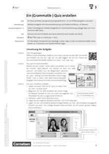 À toi ! - Medienkompetenz fördern - Ein (Grammatik-) Quiz erstellen - Unterrichtsbeispiel - Band 1A