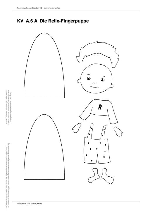 Fragen-suchen-entdecken - Fingerpuppe Relix - Arbeitsblatt - Band 1-4
