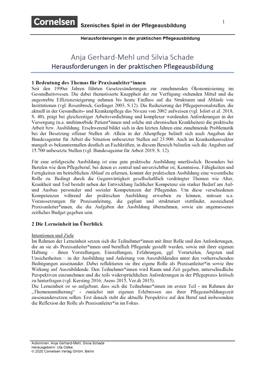 Pflegias - Szenisches Spiel in der Pflegeausbildung: Herausforderungen in der praktischen Pflegeausbildung - Unterrichtseinheit
