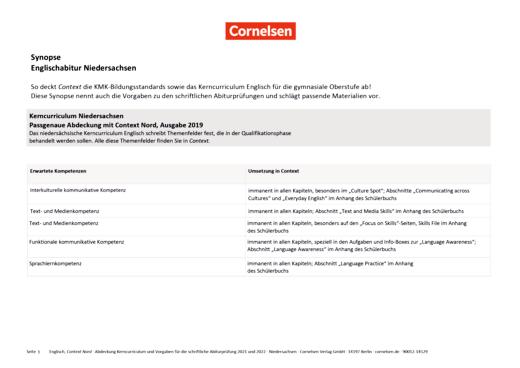 Context Starter - Context Starter G9 Niedersachsen und Context Nord - Synopse Englischabitur 2021 und 2022 Niedersachsen