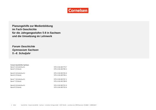 Forum Geschichte - Neue Ausgabe - Planungshilfe zur Medienbildung - 5.-8. Schuljahr