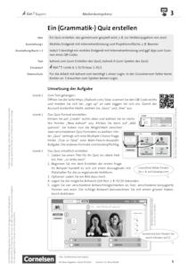 À toi ! - Medienkompetenz fördern - Ein (Grammatik-) Quiz erstellen - Unterrichtsbeispiel - Zu allen Bänden