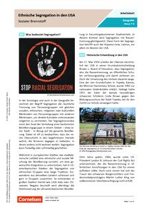 Sozialer Brennstoff - Ethnische Segregation in den USA - Arbeitsblatt mit Lösungen