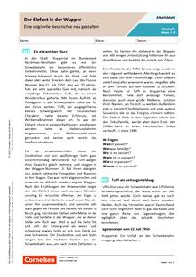 Der Elefant in der Wupper - Eine originelle Geschichte neu gestalten - Arbeitsblatt mit Lösungen