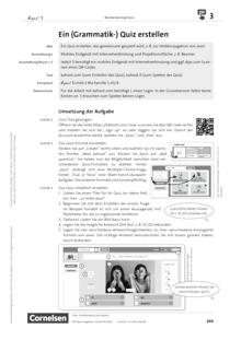 À plus ! Neubearbeitung - Medienkompetenz fördern - Ein (Grammatik-)Quiz erstellen - Unterrichtsbeispiel - Band 1