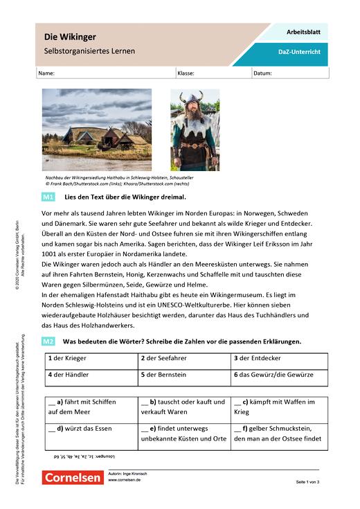 Die Wikinger (Selbstorganisiertes Lernen) - Arbeitsblatt mit Lösungen