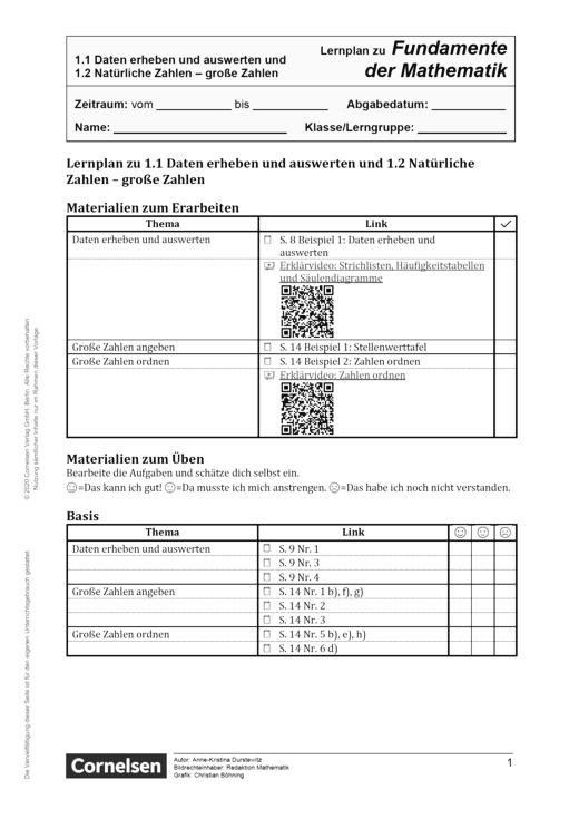 Fundamente der Mathematik - Daten erheben und auswerten und natürliche/ große Zahlen - Lernplan - Schülerfassung - 5. Schuljahr