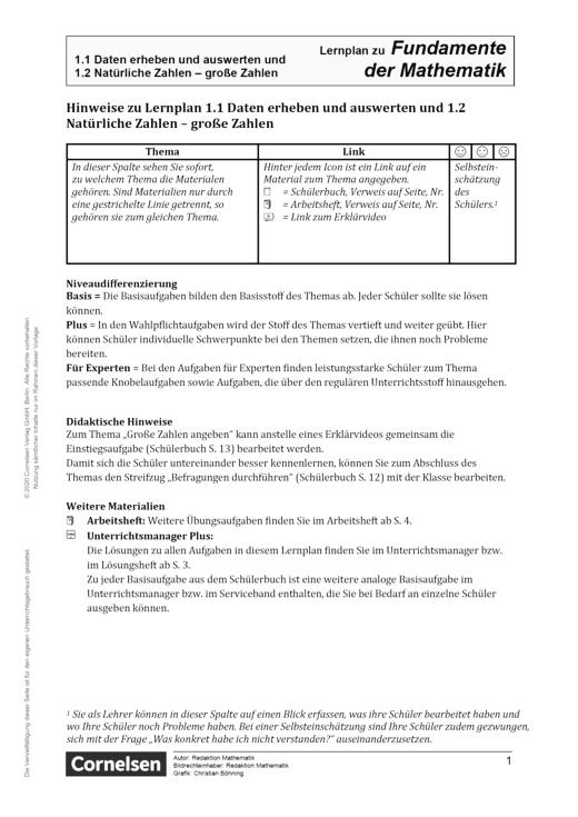 Fundamente der Mathematik - Daten erheben und auswerten und natürliche/ große Zahlen - Lernplan - Lehrerfassung - 5. Schuljahr
