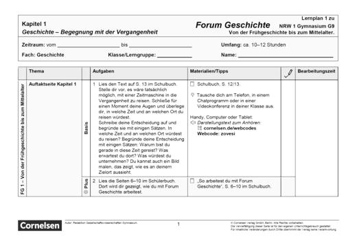 Forum Geschichte - Neue Ausgabe - Begegnungen mit der Vergangenheit - Lernplan - Schülerfassung - Band 1