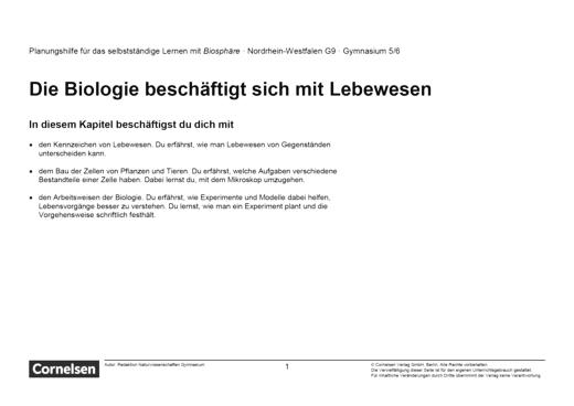Biosphäre Sekundarstufe I - Die Biologie beschäftigt sich mit Lebewesen - Teil 1 - Lernplan - 5./6. Schuljahr