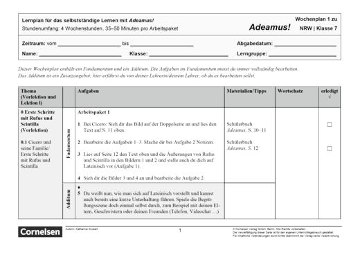 Adeamus! - Familie und Namen in Rom - Lernplan - Schülerfassung - Band 1