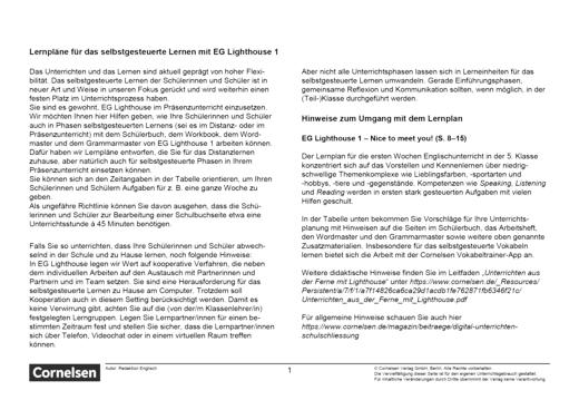 English G Lighthouse - Nice to meet you - Lernplan - Lehrerfassung - Band 1: 5. Schuljahr