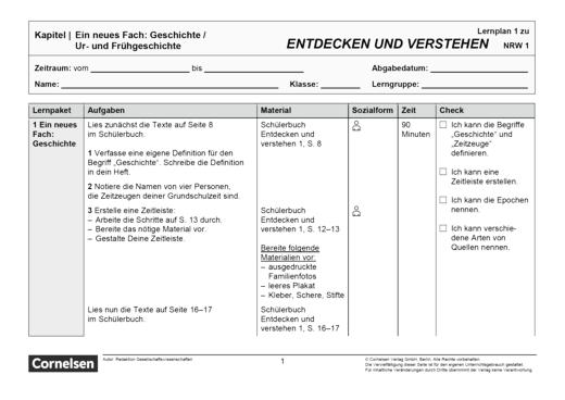 Entdecken und verstehen - Klasse 6: Neues Fach und Frühgeschichte - Lernplan - Schülerfassung - Band 1