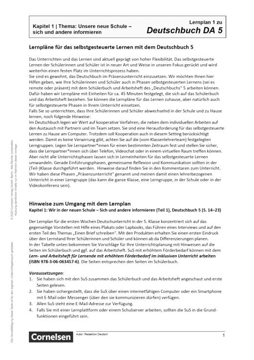 Deutschbuch - Neue Schule Informieren - Lernplan - Lehrerfassung - 5. Schuljahr