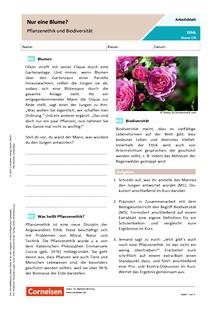 """""""Nur eine Blume? Pflanzenethik und Biodiversität - Arbeitsblatt"""