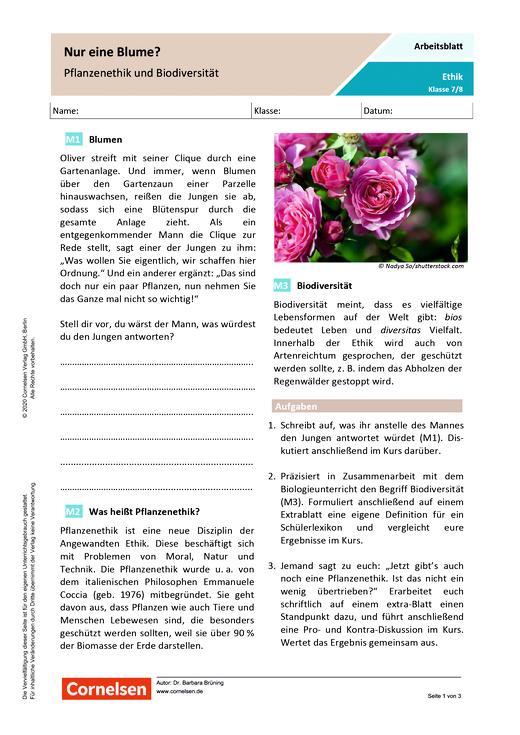 """""""Nur eine Blume? Pflanzenethik und Biodiversität - Arbeitsblatt mit Lösungen"""