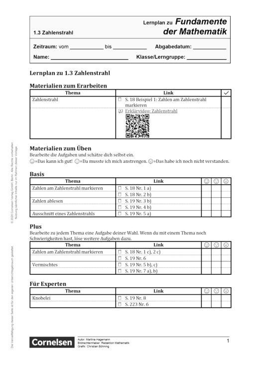 Fundamente der Mathematik - Zahlenstrahl - Lernplan - Schülerfassung - 5. Schuljahr