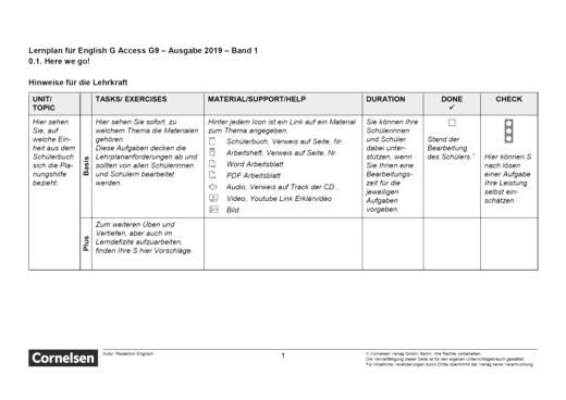 English G Access - Unit 1: Part A - Lernplan - Lehrerfassung - Band 1: 5. Schuljahr