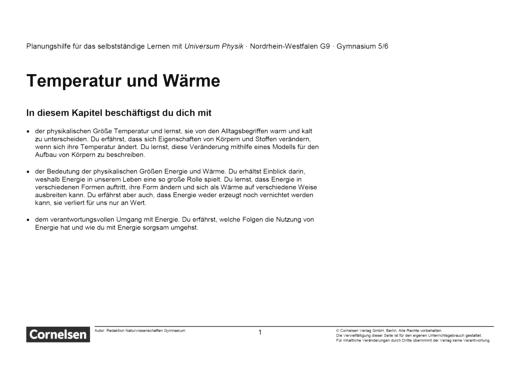 Universum Physik - Temperatur und Wärme - Teil 1 und 2 - Lernplan - Schülerfassung - 5./6. Schuljahr