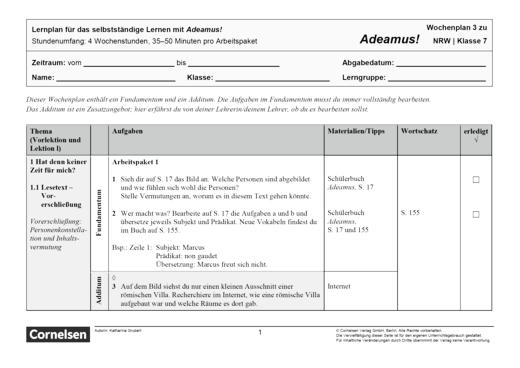 Adeamus! - Personenkonstellation - Lernplan - Schülerfassung - Band 1