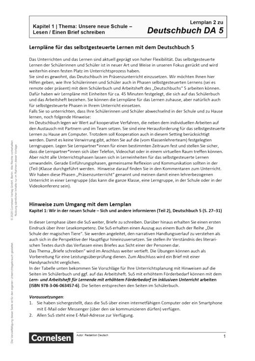 Deutschbuch - Kapitel 1: Teil 2 - Lernplan - Lehrerfassung - 5. Schuljahr