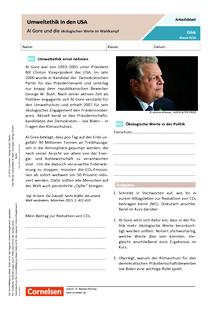Umweltethik in den USA - Al Gore und die ökologischen Werte im Wahlkampf - Arbeitsblatt