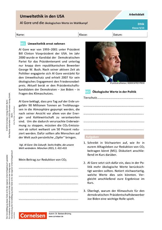 Umweltethik in den USA - Al Gore und die ökologischen Werte im Wahlkampf - Arbeitsblatt mit Lösungen