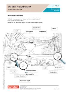 Was lebt in Teich und Tümpel? - Als Naturforscher unterwegs - Arbeitsblatt