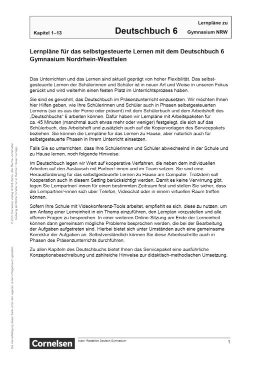 Deutschbuch Gymnasium - Lernplan - Lehrerfassung - 6. Schuljahr