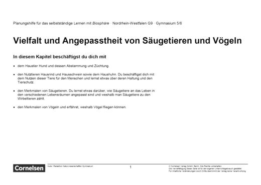 Biosphäre Sekundarstufe I - Vielfalt und Angepasstheit von Säugetieren und Vögeln - Lernplan - Schülerfassung - 5./6. Schuljahr