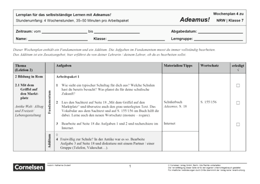 Adeamus! - Bildung in Rom - Lernplan - Schülerfassung - Band 1