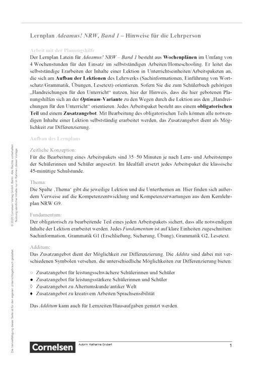 Adeamus! - Bildung in Rom - Lernplan - Lehrerfassung - Band 1