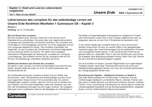 Unsere Erde - Stadt und Land als Lebensraeume vergleichen - Lernplan - Lehrerfassung - Band 1