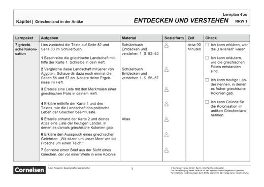 Entdecken und verstehen - Paket 5 - Lernplan - Schülerfassung - Band 1: 5./6. Schuljahr