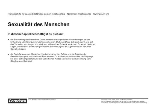 Biosphäre Sekundarstufe I - Sexulalität des Menschen - Lernplan - Schülerfassung - 5./6. Schuljahr