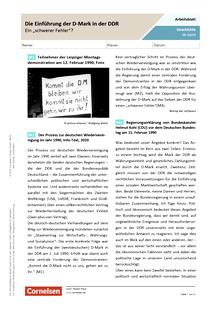 """Die Einführung der D-Mark in der DDR 1990 - ein """"schwerer Fehler""""? - Arbeitsblatt"""