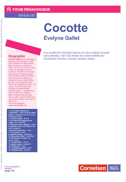 FrancoMusiques - Evelyne Gallet - Cocotte - Arbeitsblatt - B1