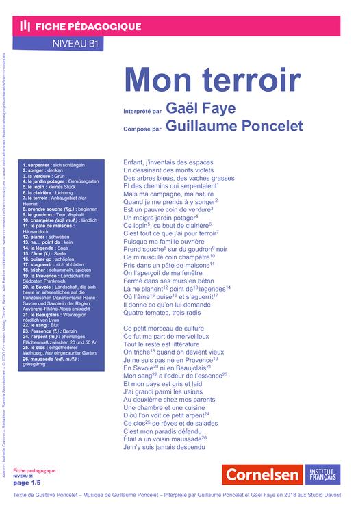 FrancoMusiques - Guillaume Poncelet,  Gaël Faye - Mon terroir - Arbeitsblatt - B1