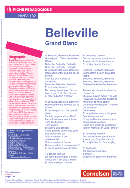 FrancoMusiques - Grand blanc - Belleville - Arbeitsblatt - B2