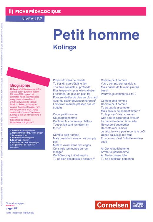 FrancoMusiques - Kolinga - Petit homme - Arbeitsblatt - B2