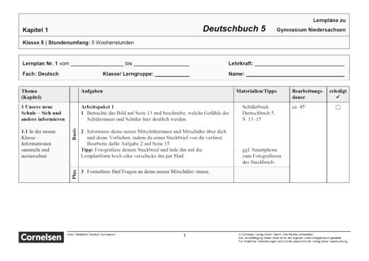Deutschbuch Gymnasium - Band 5 - Lernplan - Schülerfassung - 5. Schuljahr