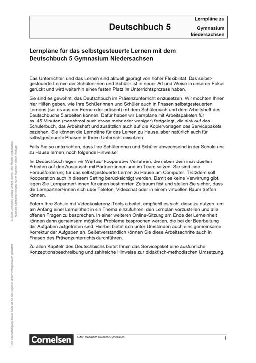 Deutschbuch Gymnasium - Band 5 - Lernplan - Lehrerfassung - 5. Schuljahr