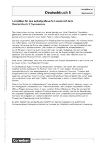 Deutschbuch Gymnasium - Lernplan - Lehrerfassung - 5. Schuljahr