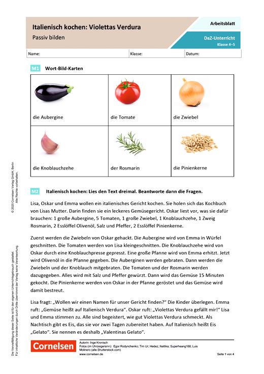 Italienisch kochen: Violettas Verdura. Passiv bilden - Arbeitsblatt mit Lösungen