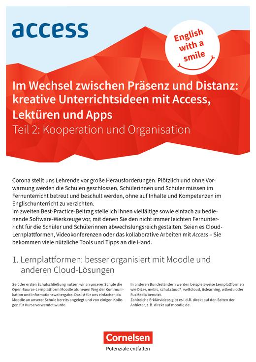 Access - Präsenz- und Distanzunterricht Teil 2 - Kooperation und Organisation - Best Practice